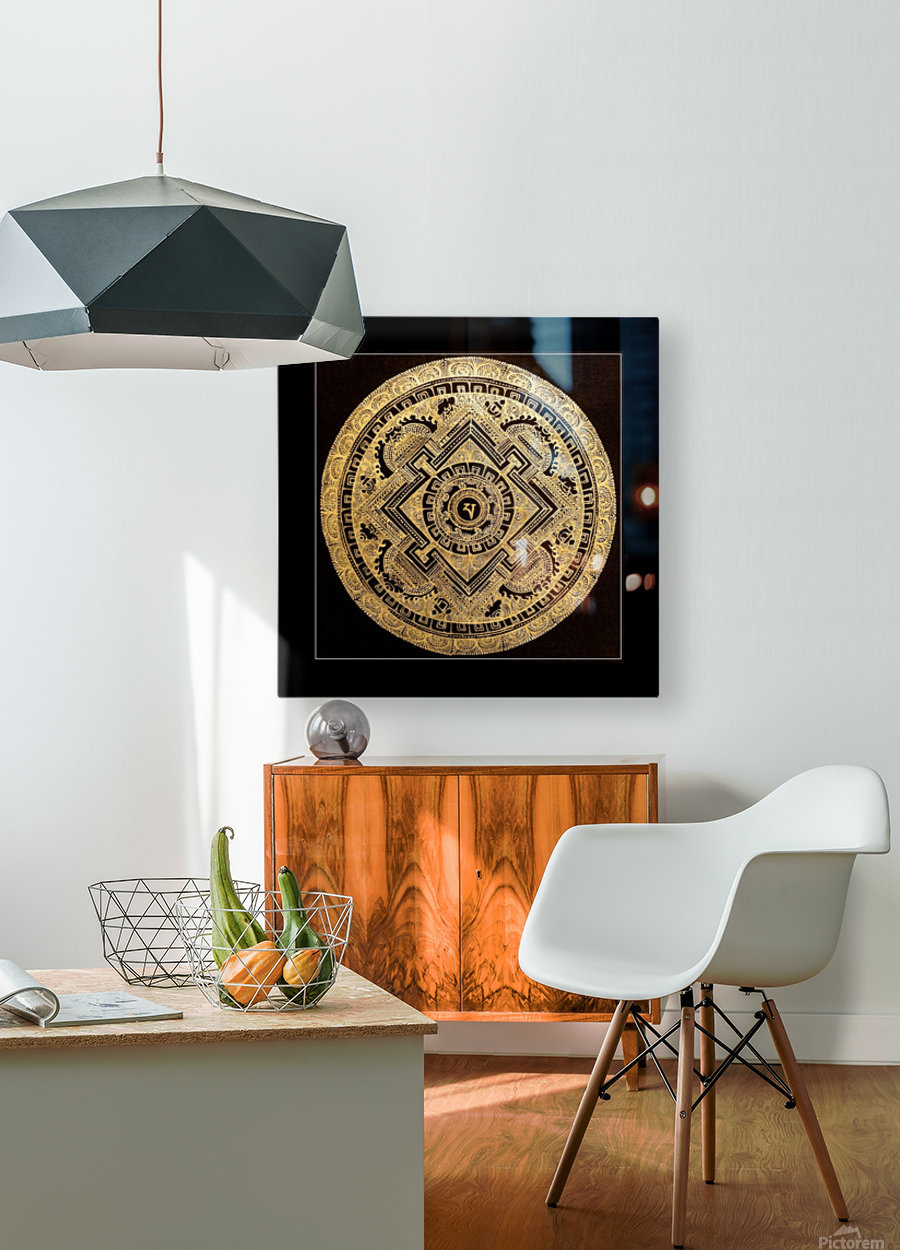 Nepali Goldwork: Peace  HD Metal print with Floating Frame on Back