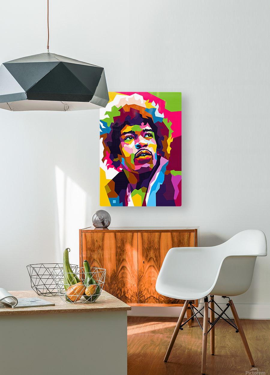 Jimi Hendrix  HD Metal print with Floating Frame on Back