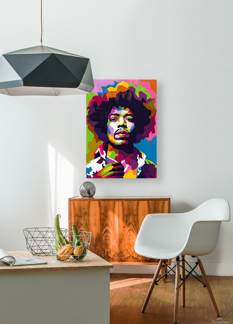 Jimi Hendrix  HD Metal print with Floating Frame on Back