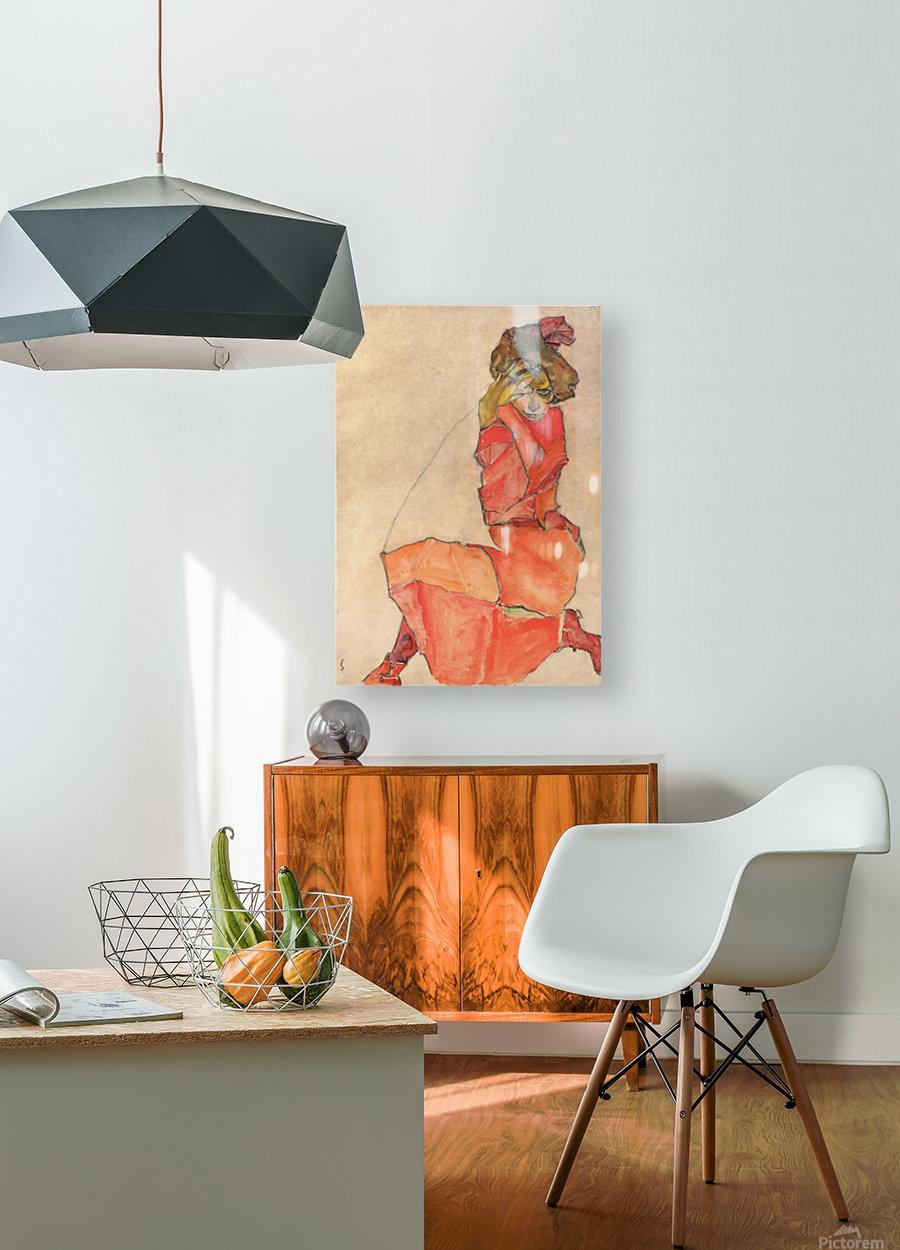Egon Schiele - Kneeling Woman in Orange-Red Dress  HD Metal print with Floating Frame on Back
