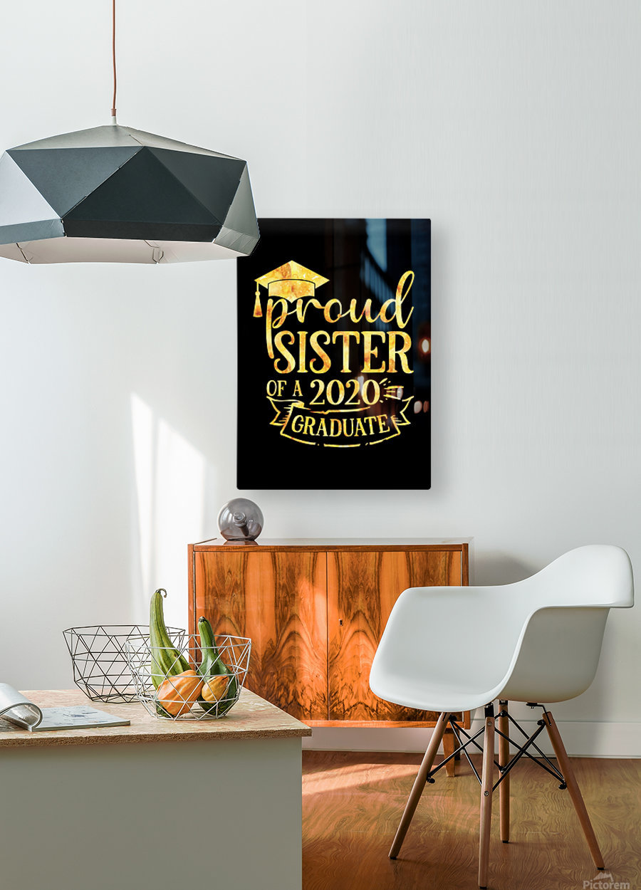 Proud SISTER of A 2020 Graduate  HD Metal print with Floating Frame on Back