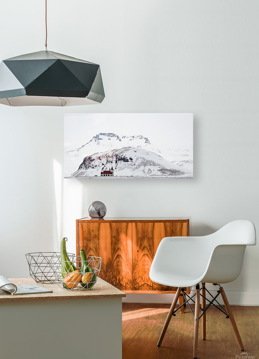 Distant Iceland Church  HD Metal print with Floating Frame on Back