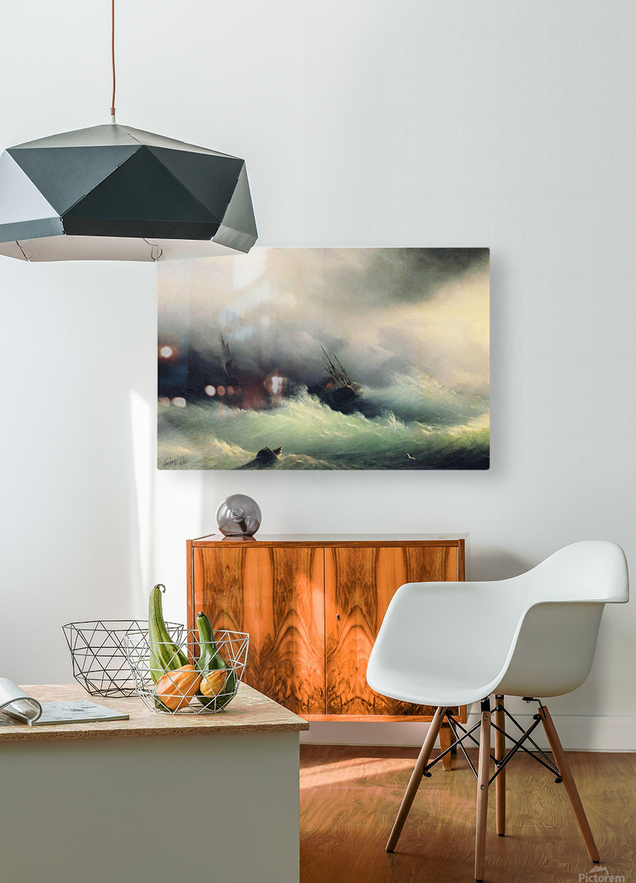 Ships in a Storm  HD Metal print with Floating Frame on Back