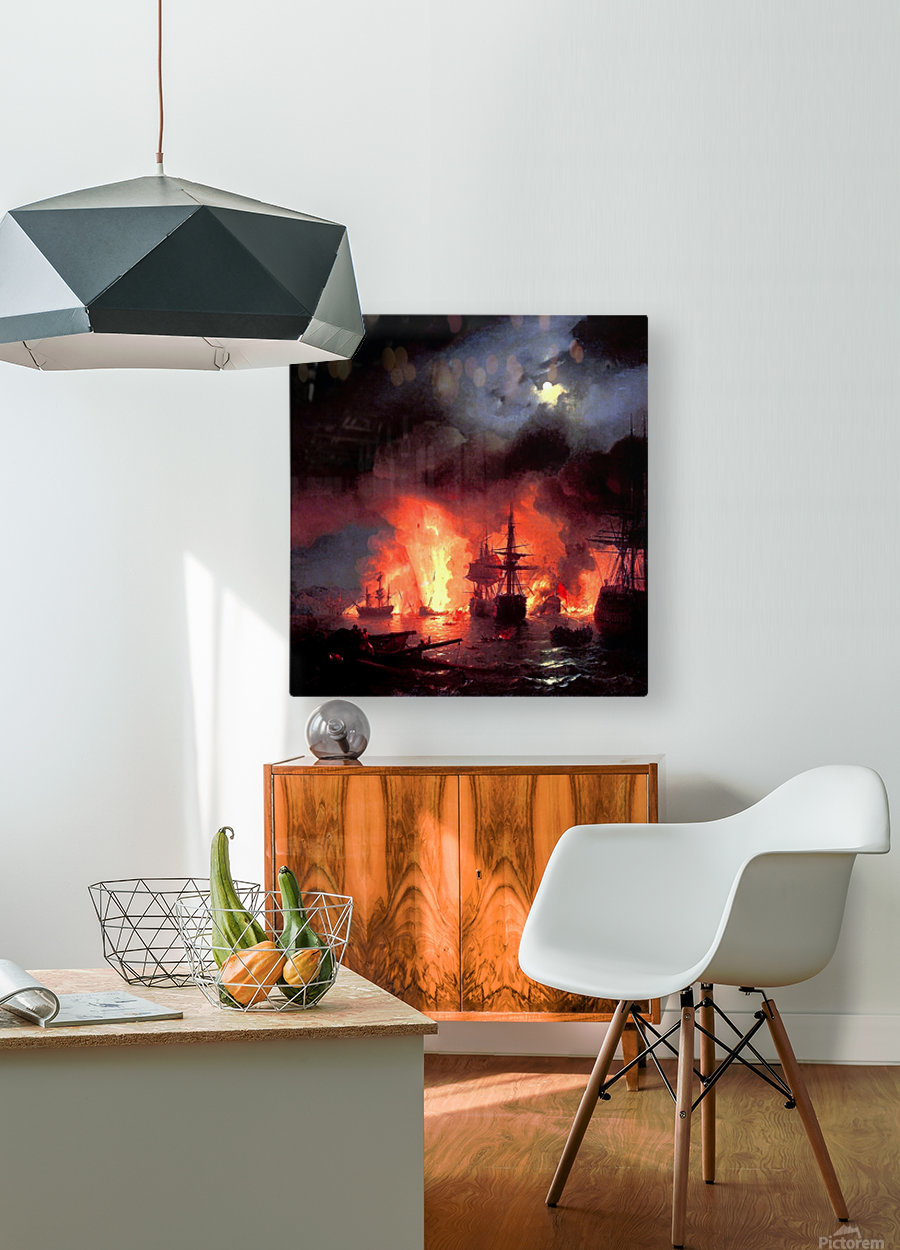Battle of Cesme at Night  HD Metal print with Floating Frame on Back