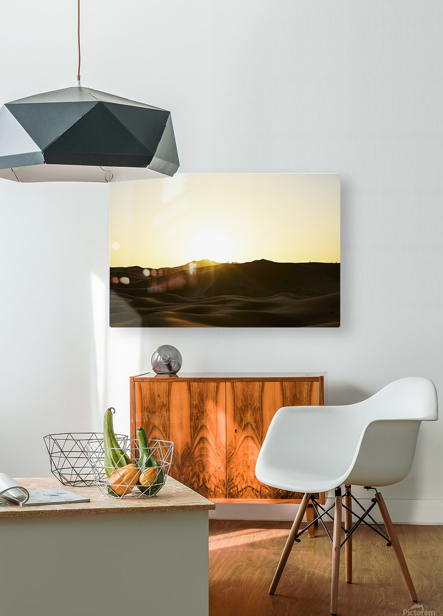 Erg Chebbi at Sunset  HD Metal print with Floating Frame on Back