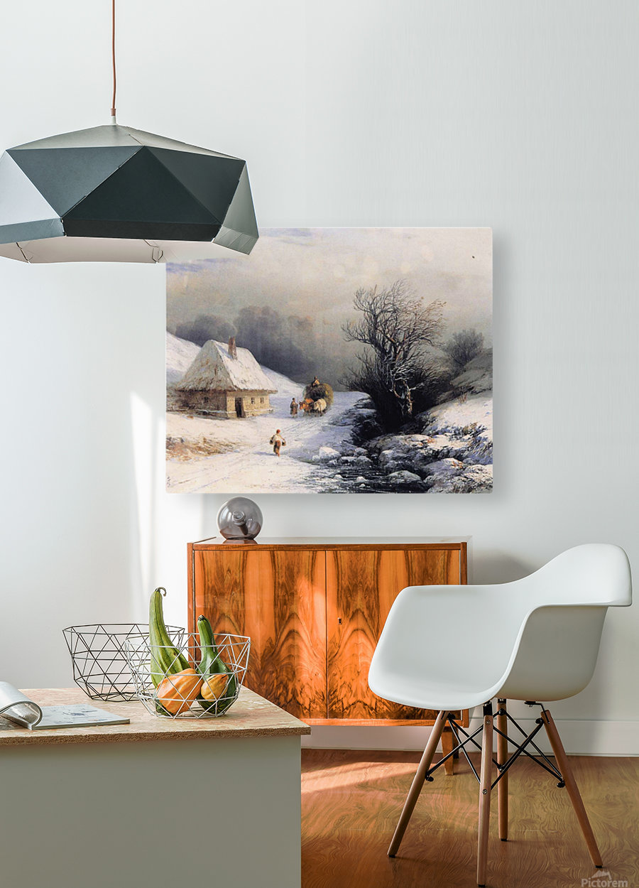 Little Russian Ox Cart in Winter  HD Metal print with Floating Frame on Back