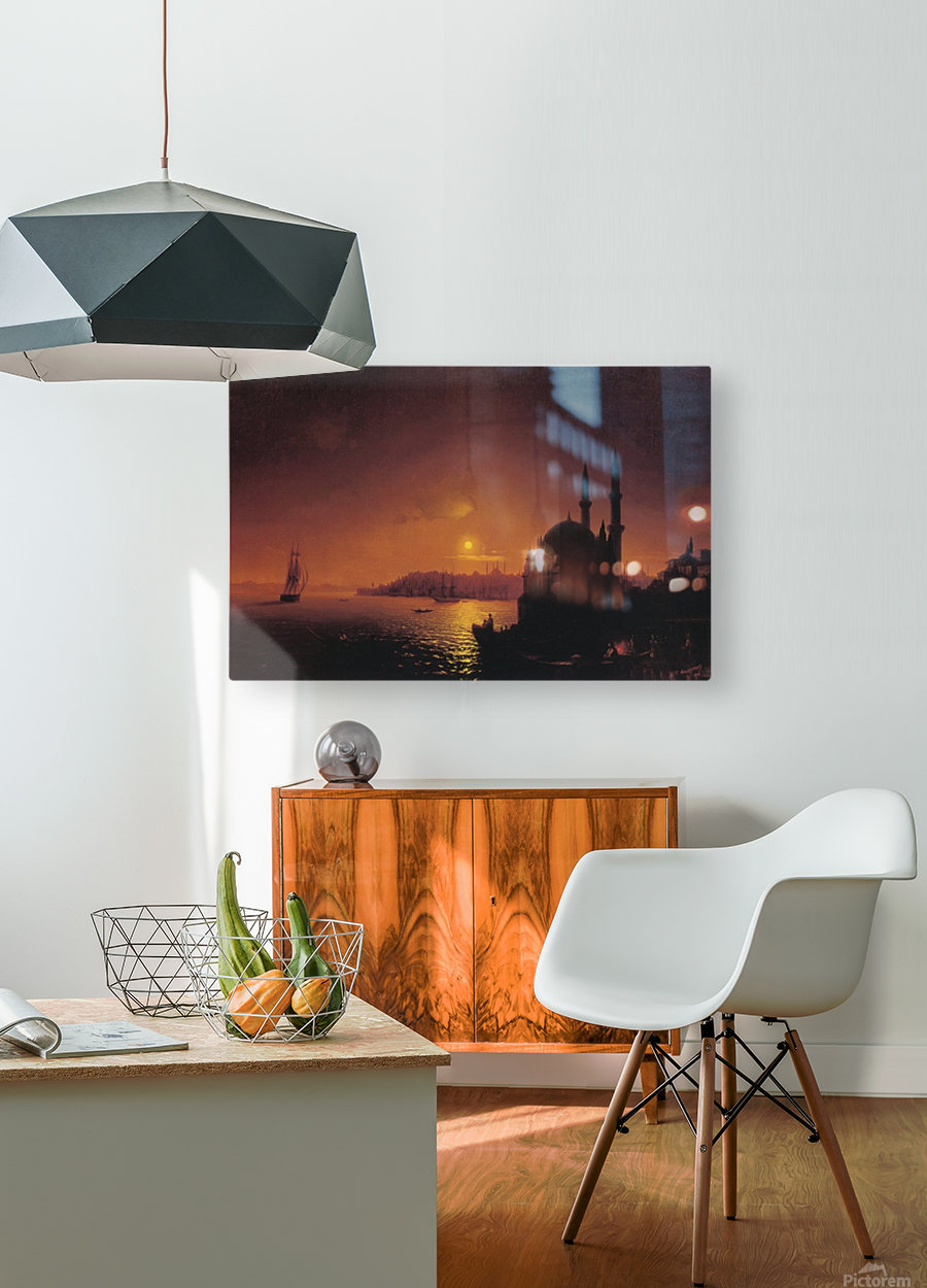 View of Constantinople by Moonlight  HD Metal print with Floating Frame on Back