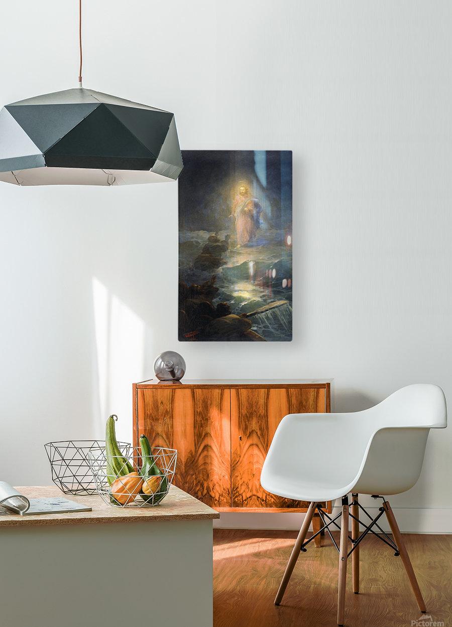 Jesus walks on water  HD Metal print with Floating Frame on Back