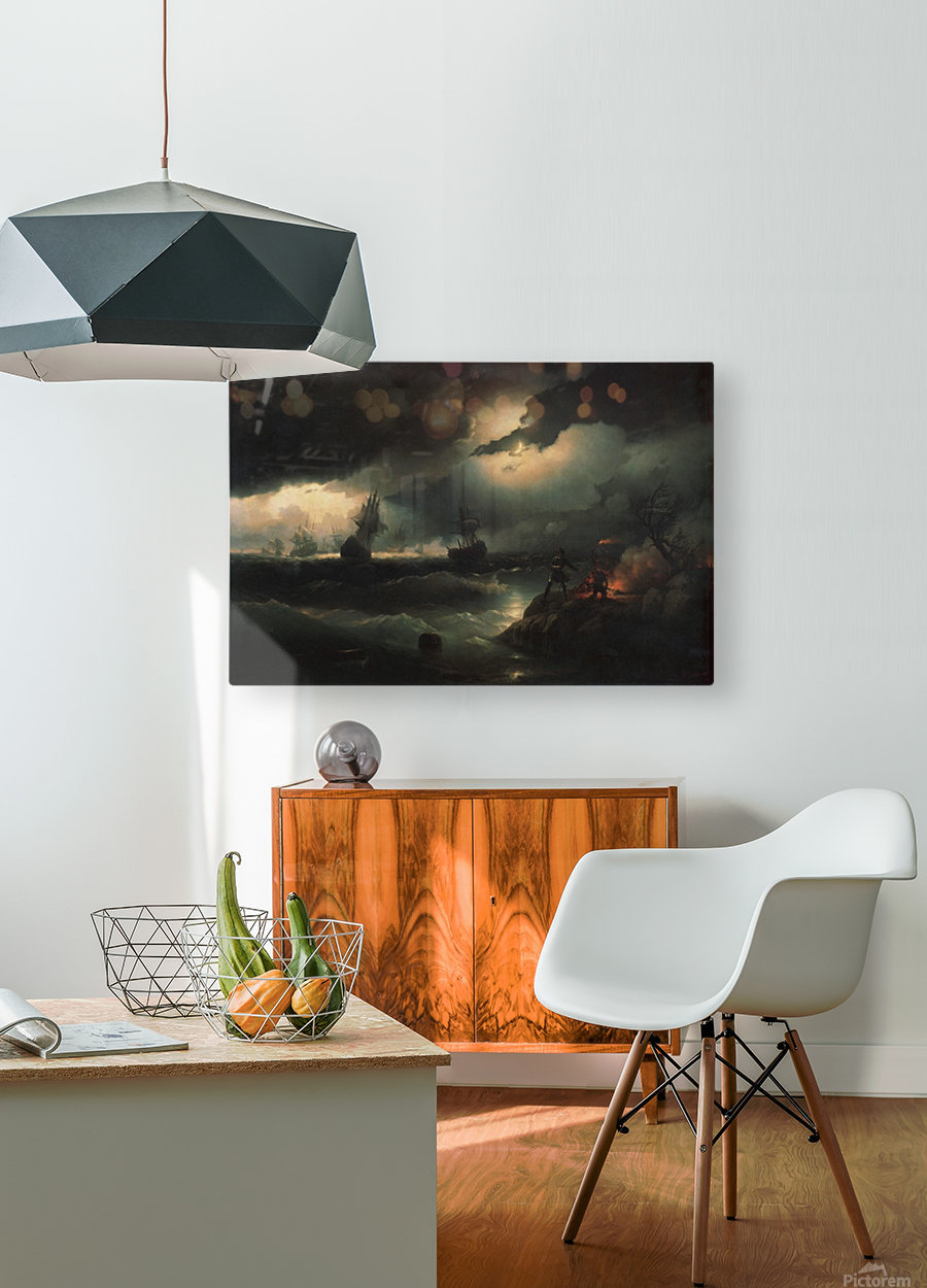 Peter I at Krasnaya Gorka Setting Fire on the Shore to Give a Signal to his Perishing Vessels  HD Metal print with Floating Frame on Back