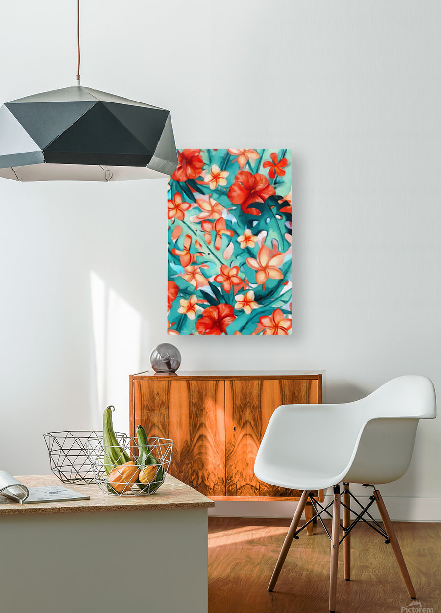 Vibrant Tropical Floral   HD Metal print with Floating Frame on Back