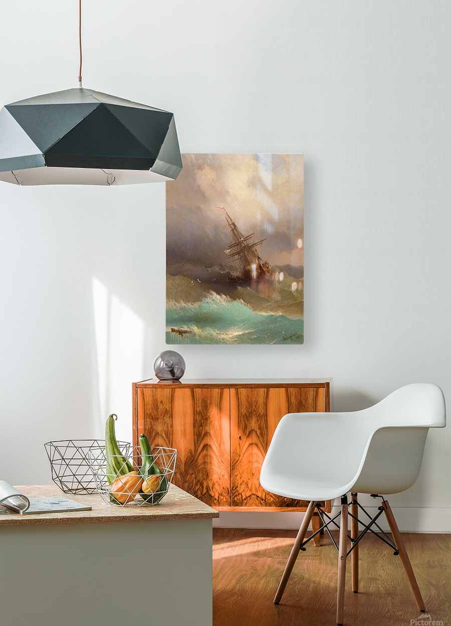 Ship in the Stormy Sea  HD Metal print with Floating Frame on Back