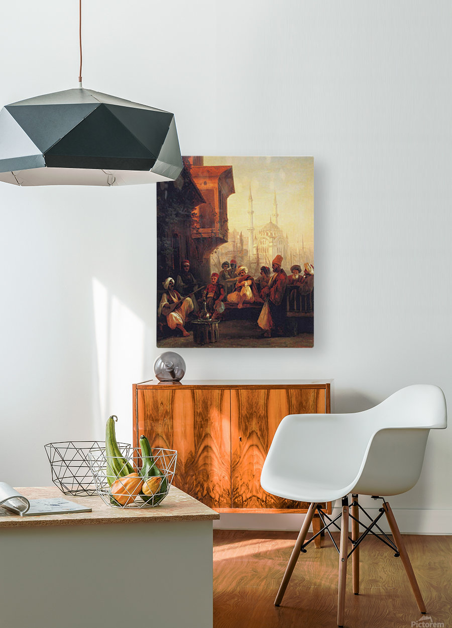 Coffee house by the Ortakoy Mosque in Constantinople  HD Metal print with Floating Frame on Back