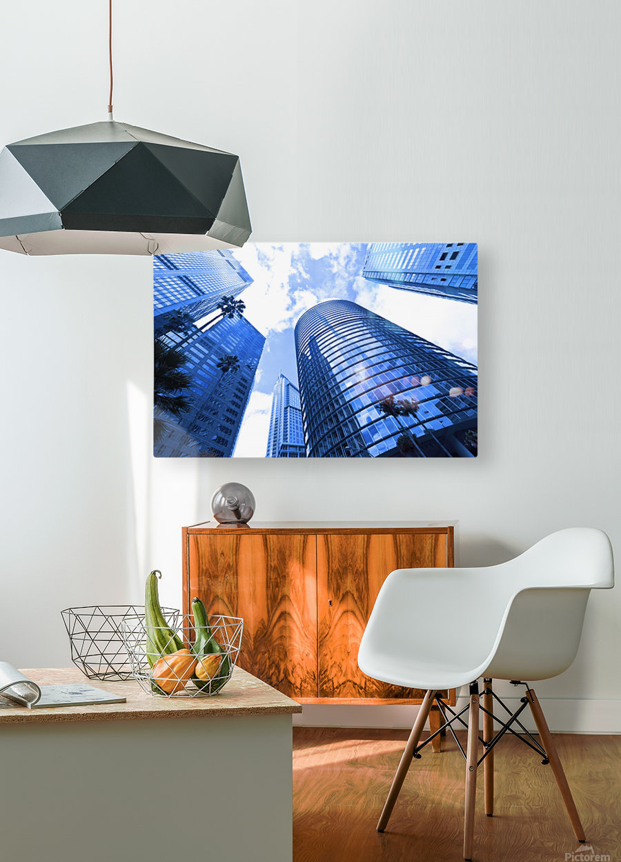 Skyscrapers reflections clouds  HD Metal print with Floating Frame on Back