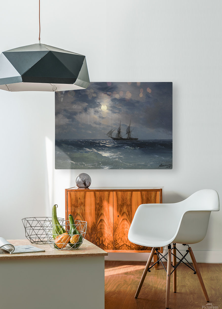 The Brig Mercury in moonlight  HD Metal print with Floating Frame on Back