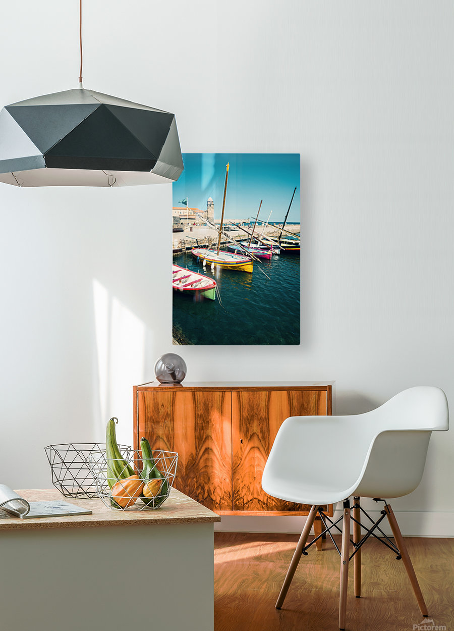 Collioure harbour Anchovy Fishing boats.  HD Metal print with Floating Frame on Back