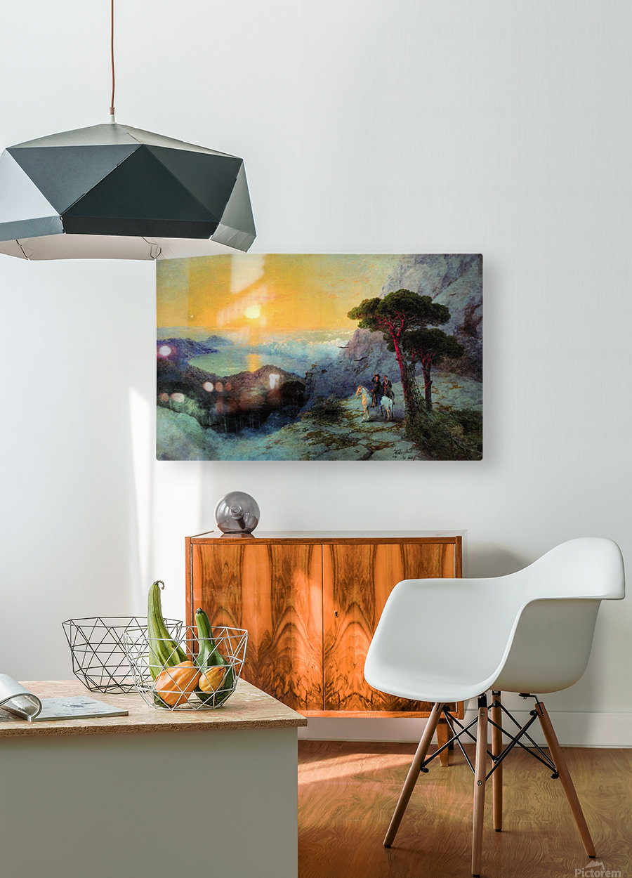 On top of the Ai-Petri Mountain at sunrise  HD Metal print with Floating Frame on Back