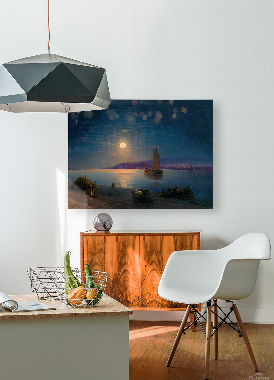Night at the sea  HD Metal print with Floating Frame on Back