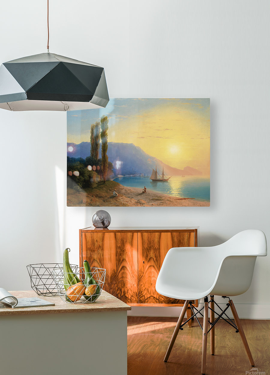 Sunset over Yalta  HD Metal print with Floating Frame on Back