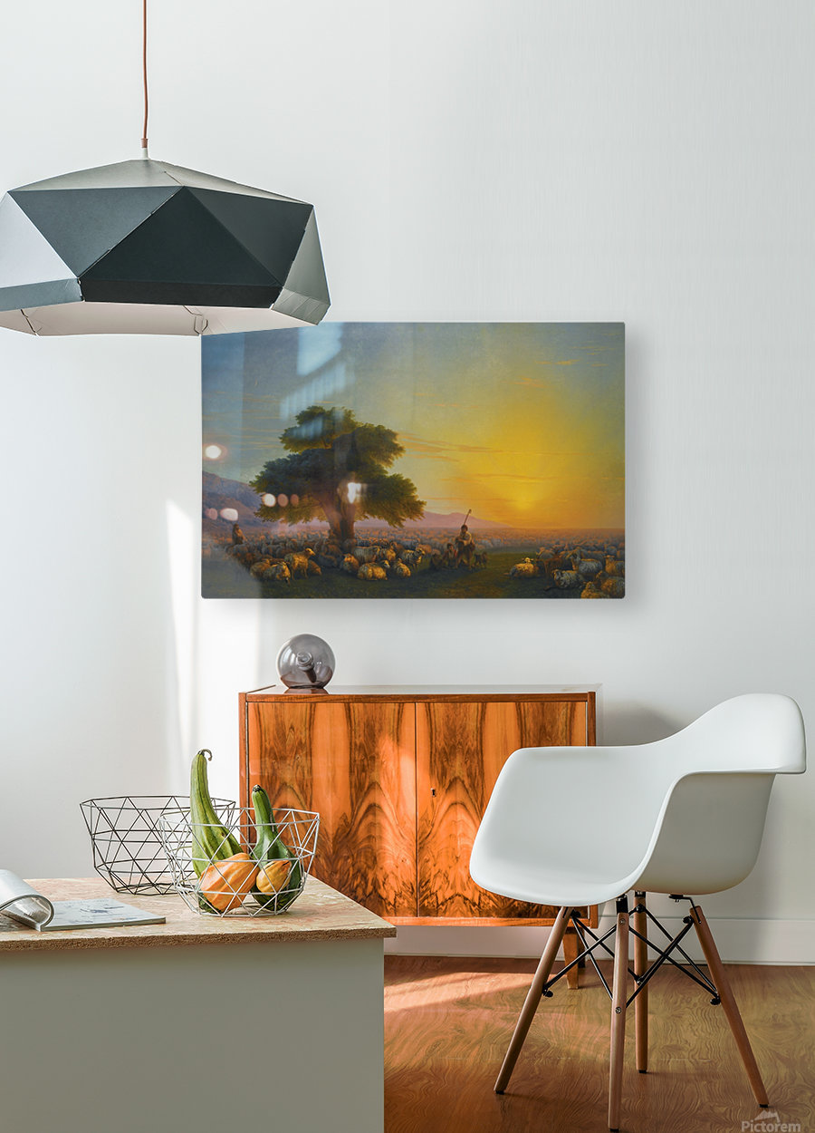Sheeps in the sun  HD Metal print with Floating Frame on Back