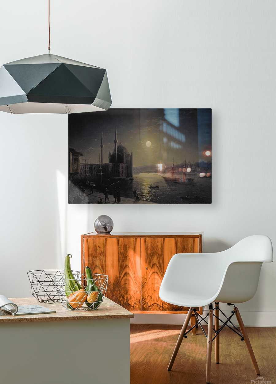 Moonlight on the Bosphorus  HD Metal print with Floating Frame on Back