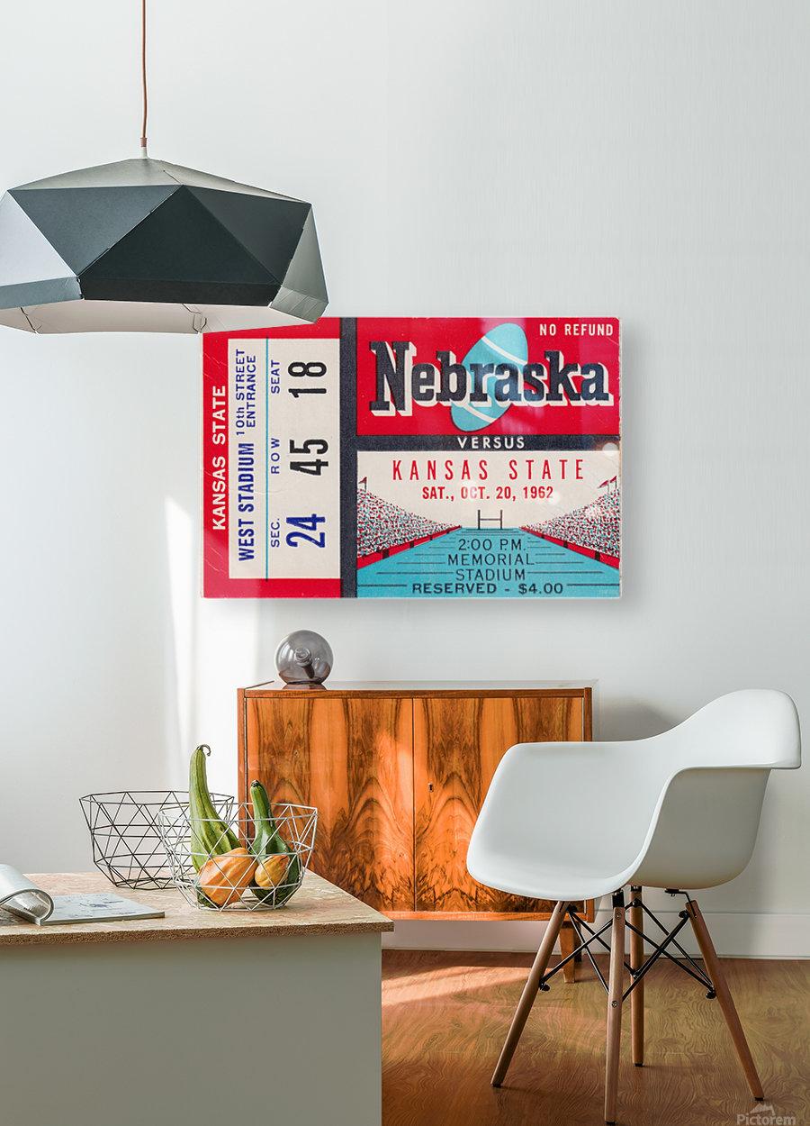 1962 Kansas State vs. Nebraska Cornhuskers Ticket Stub  HD Metal print with Floating Frame on Back