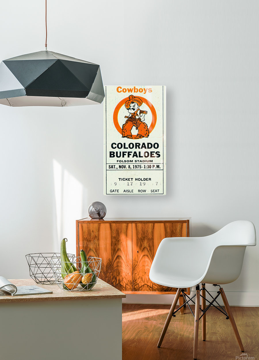 1975_College_Football_Oklahoma State vs. Colorado_Folsom Field_Boulder_Row One  HD Metal print with Floating Frame on Back