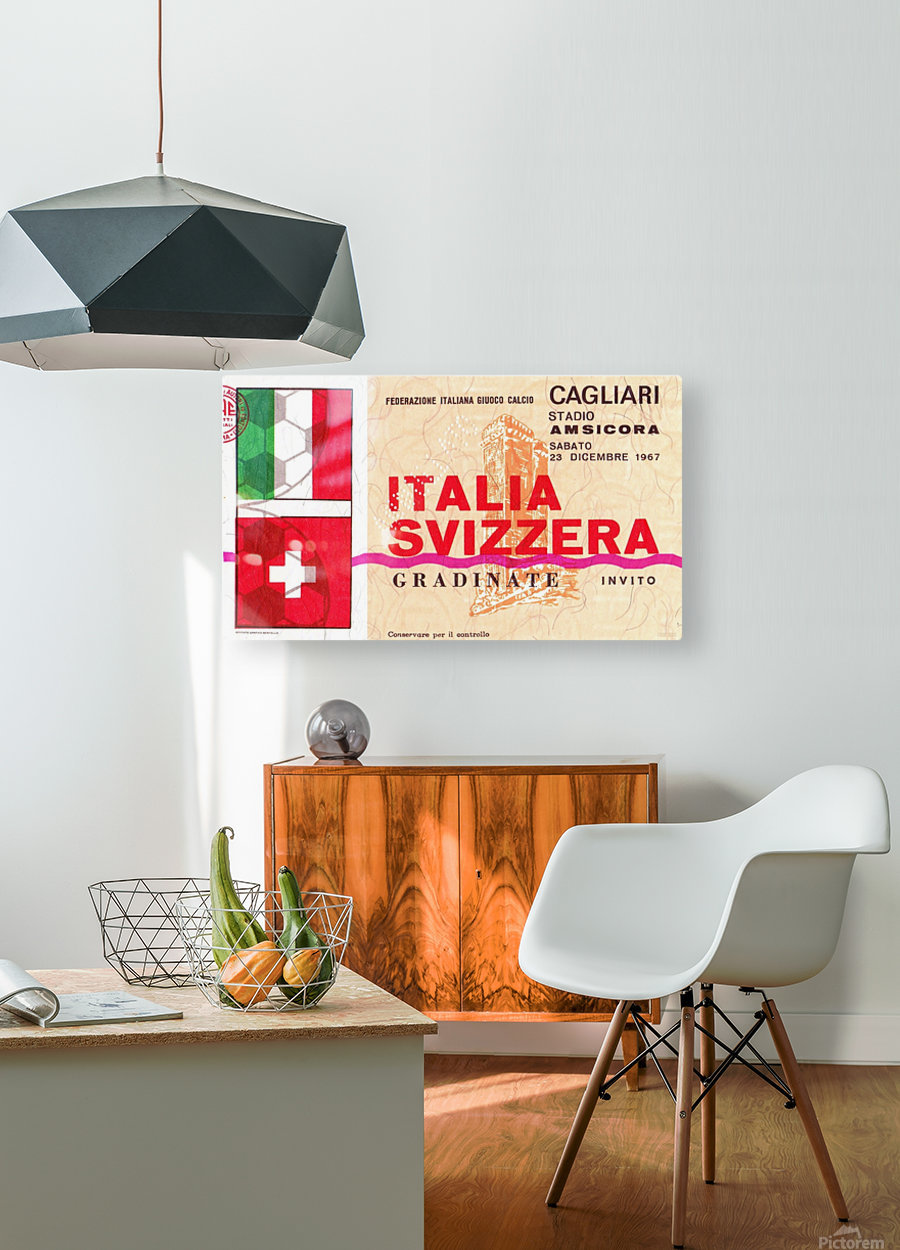 1967_Soccer_Italy vs. Switzerland_Cagliari Stadium_Row One  HD Metal print with Floating Frame on Back