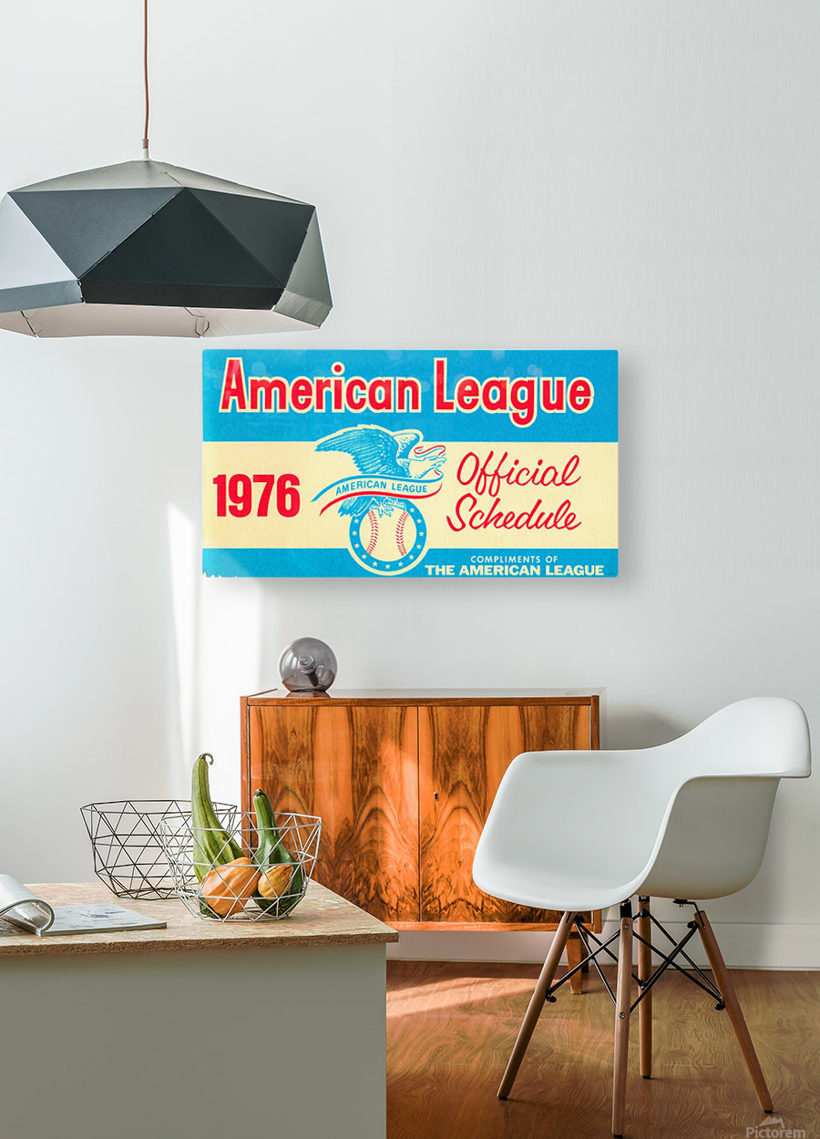 1976_Major League Baseball_American League Schedule_Row One Brand  HD Metal print with Floating Frame on Back