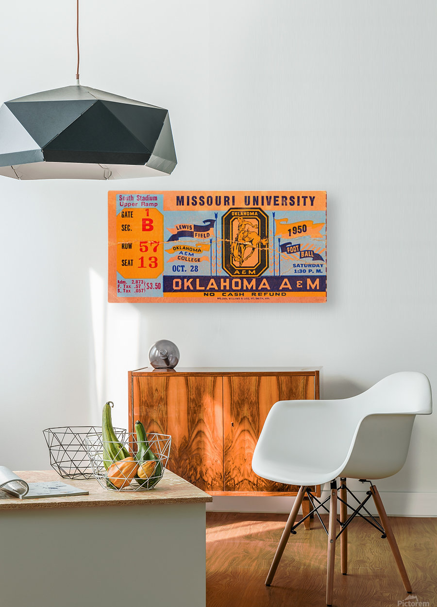 1950_College_Oklahoma vs. Oklahoma State_Lewis Field_Stillwater_Row One Brand  HD Metal print with Floating Frame on Back