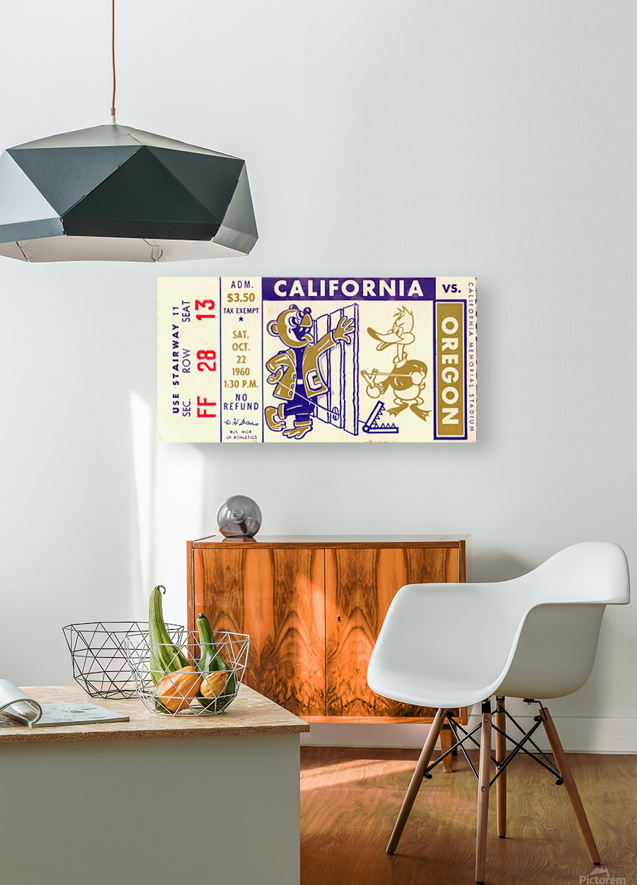 1960_College_Football_California vs. Oregon_Memorial Stadium_Row One Brand  HD Metal print with Floating Frame on Back