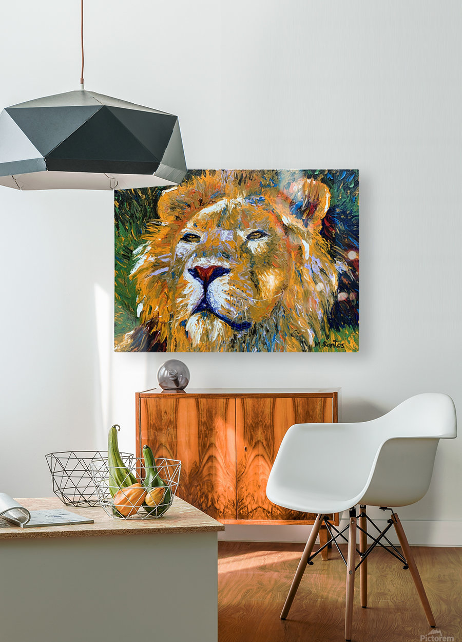 Lion Closeup  HD Metal print with Floating Frame on Back