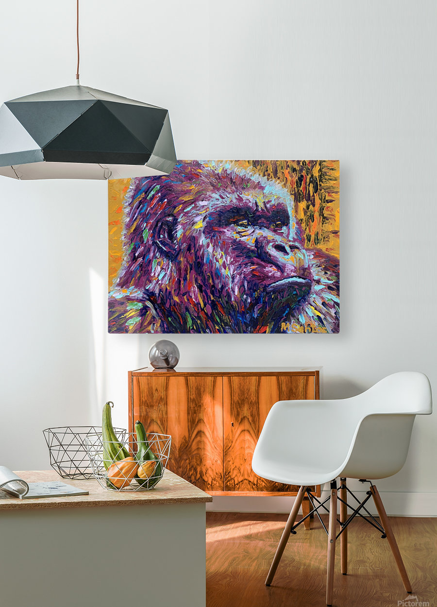 Gorilla Closeup  HD Metal print with Floating Frame on Back