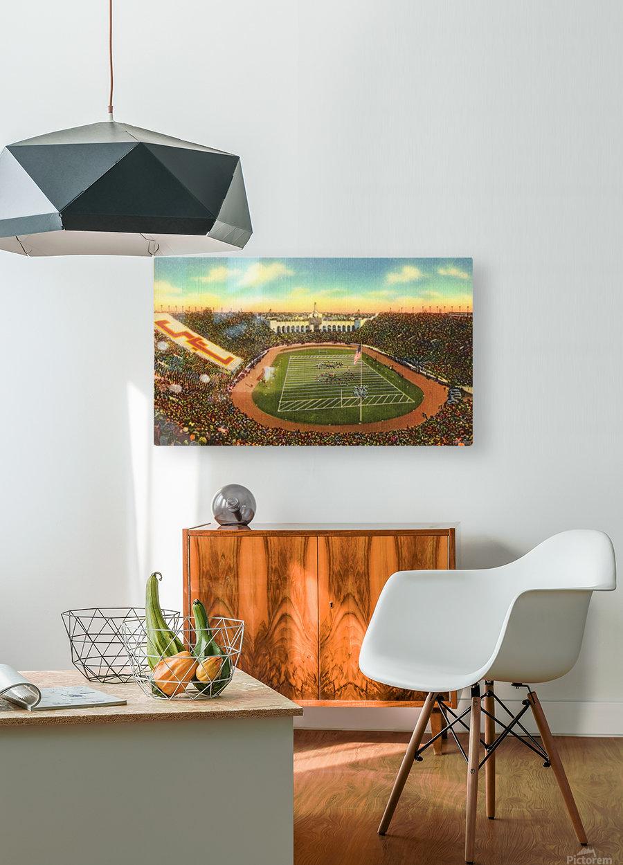 Vintage Los Angeles Coliseum USC Trojans Football Art  HD Metal print with Floating Frame on Back