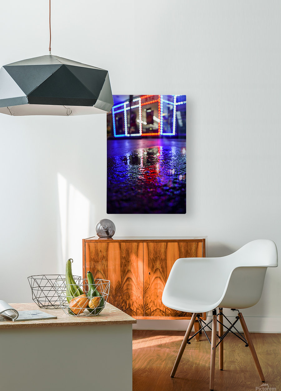 Red White and Bokeh  HD Metal print with Floating Frame on Back