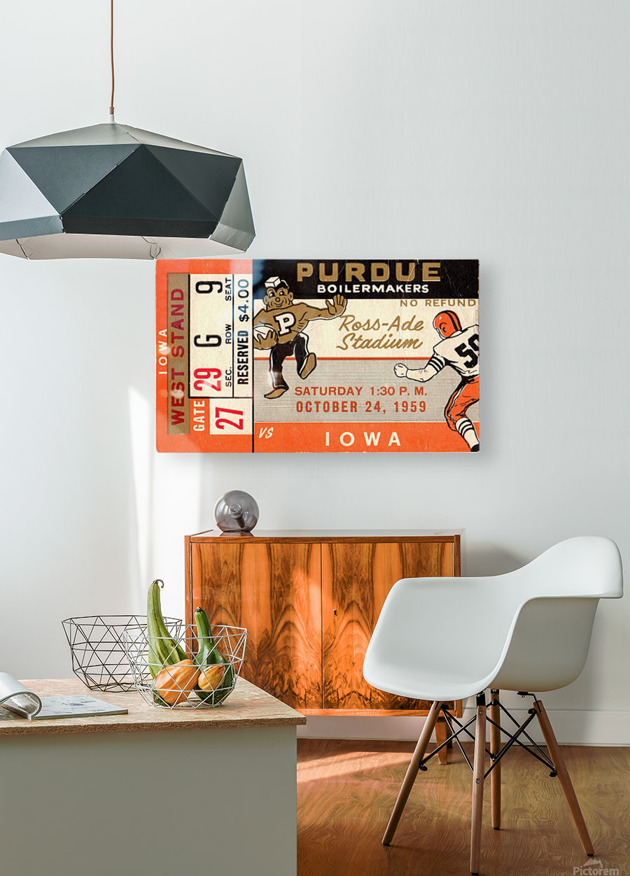 1959_College_Football_Purdue vs. Iowa_Ross Ade Stadium_Row One Ticket Stub Art  HD Metal print with Floating Frame on Back