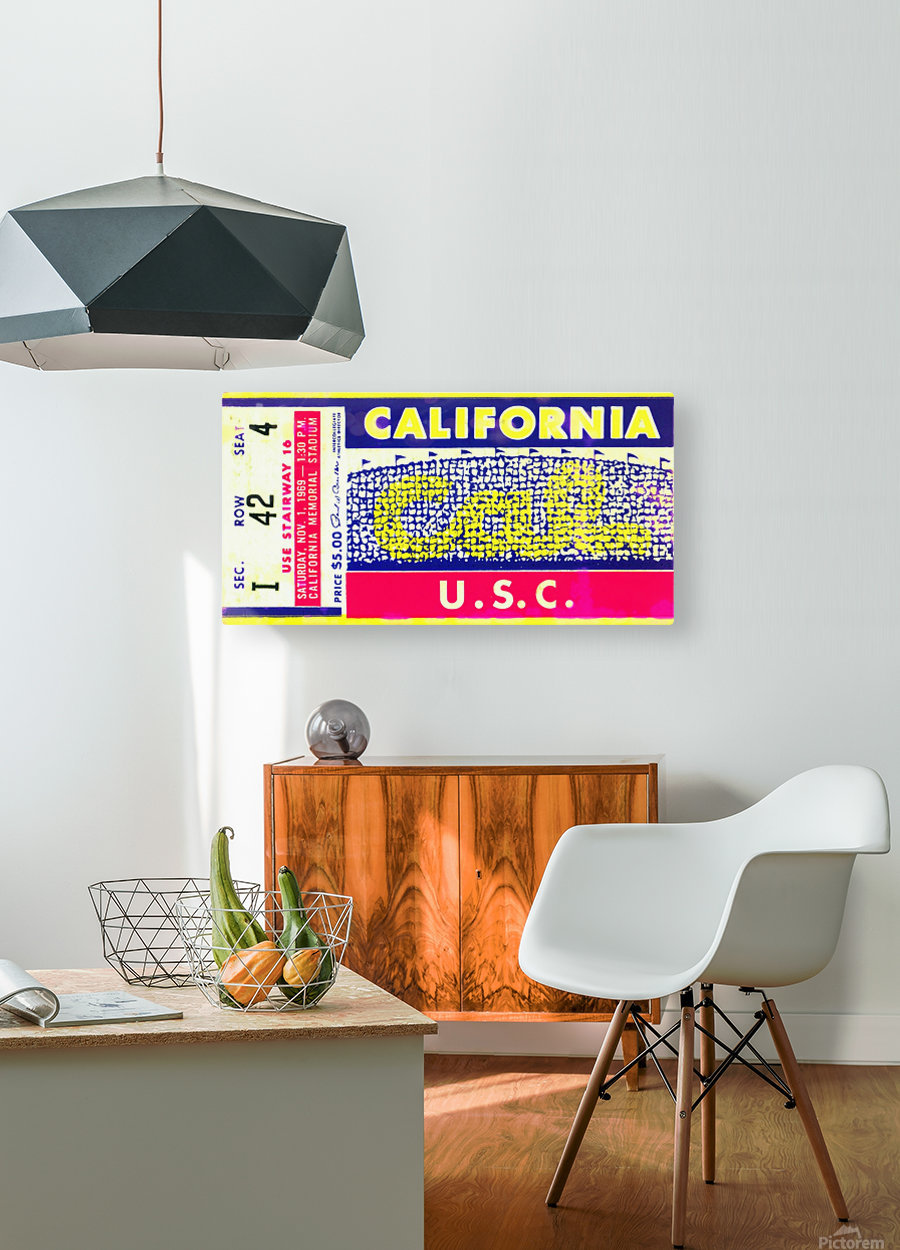 1969 Cal Bears Ticket Stub  HD Metal print with Floating Frame on Back