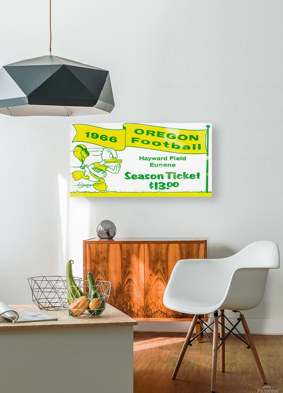 1966 Oregon Duck Season Ticket  HD Metal print with Floating Frame on Back