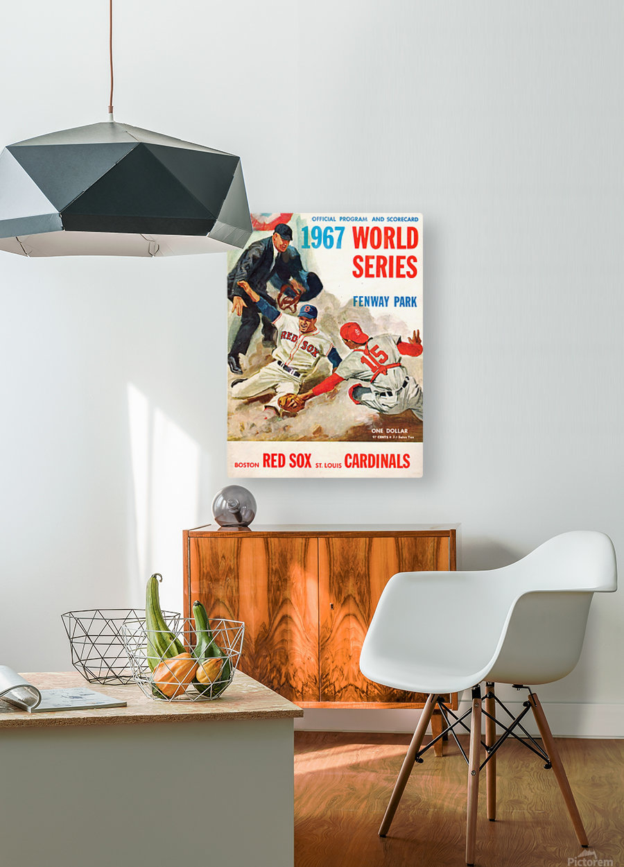 1967 World Series Program Cover Art Fenway Park  HD Metal print with Floating Frame on Back