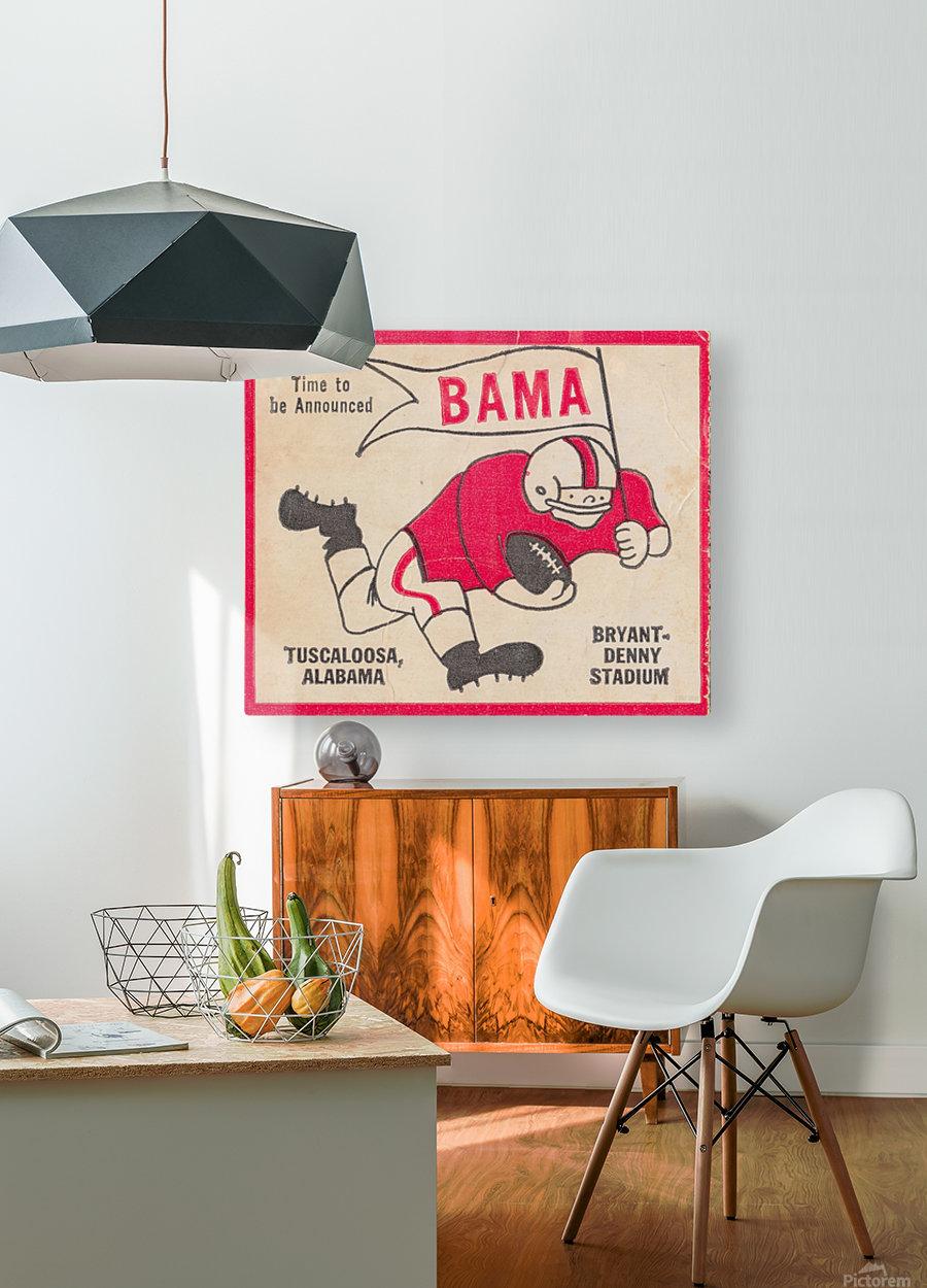 1980 Bama Football Player Flag Art_Tuscaloosa Alabama_Bryant Denny Stadium_Ticket Stub Art Creations  HD Metal print with Floating Frame on Back