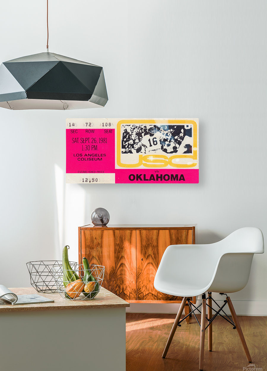 1981_College Football Art_USC vs. Oklahoma_Los Angeles Coliseum_College Football Rivalry Ticket  HD Metal print with Floating Frame on Back