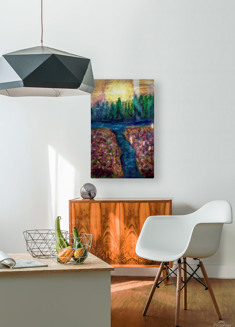 Moon over River  HD Metal print with Floating Frame on Back