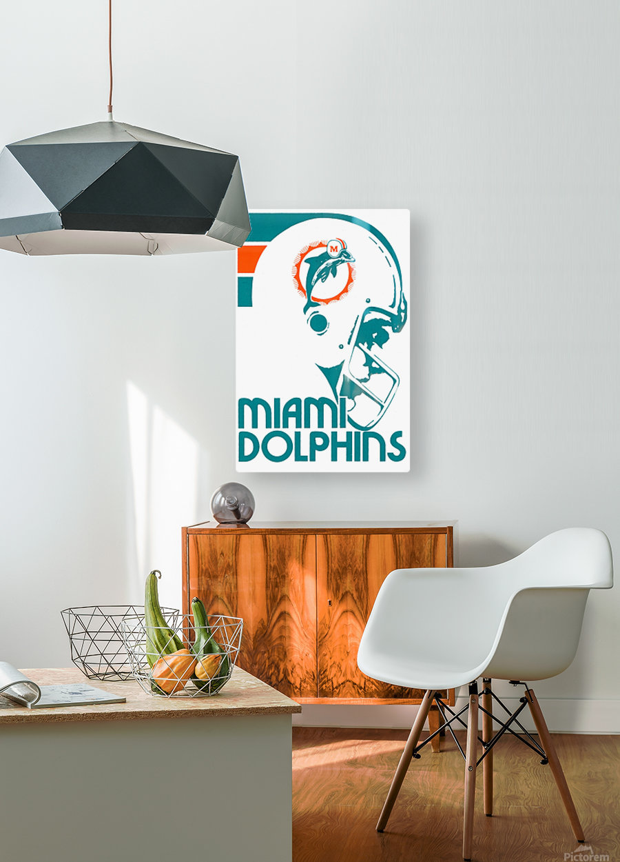 National Football League_Retro Miami Dolphins 1970s Art Reproduction  HD Metal print with Floating Frame on Back