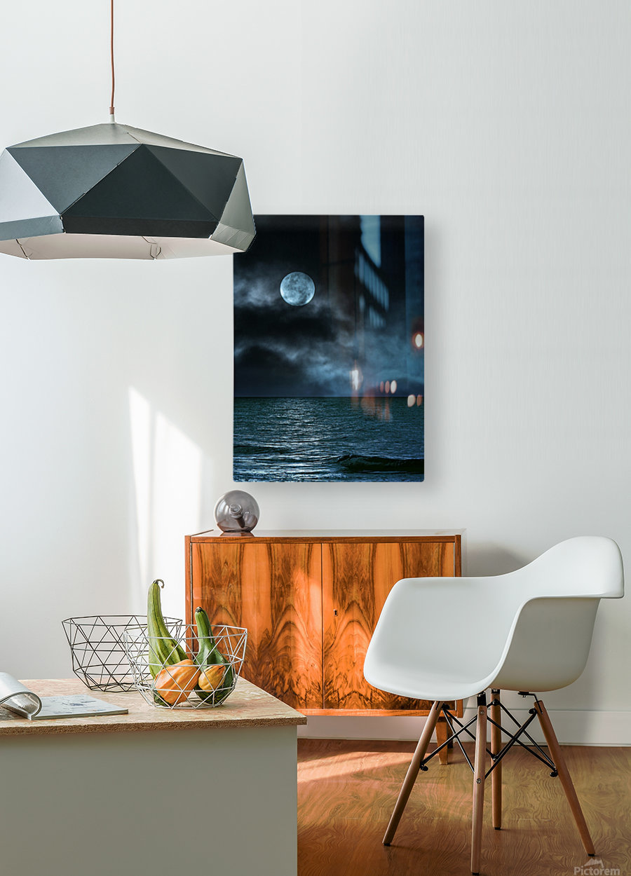 Cloudy Moon Shore at Night  HD Metal print with Floating Frame on Back