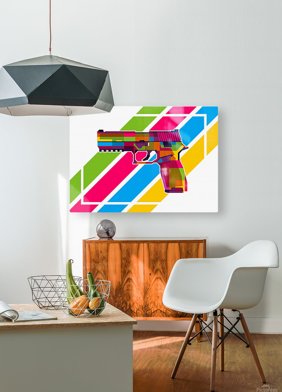 SIG P250 Handgun  HD Metal print with Floating Frame on Back