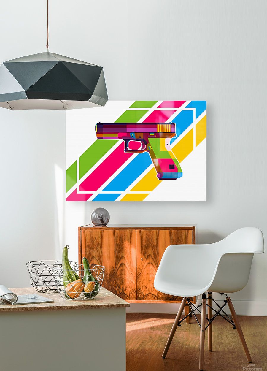 Glock Handgun  HD Metal print with Floating Frame on Back