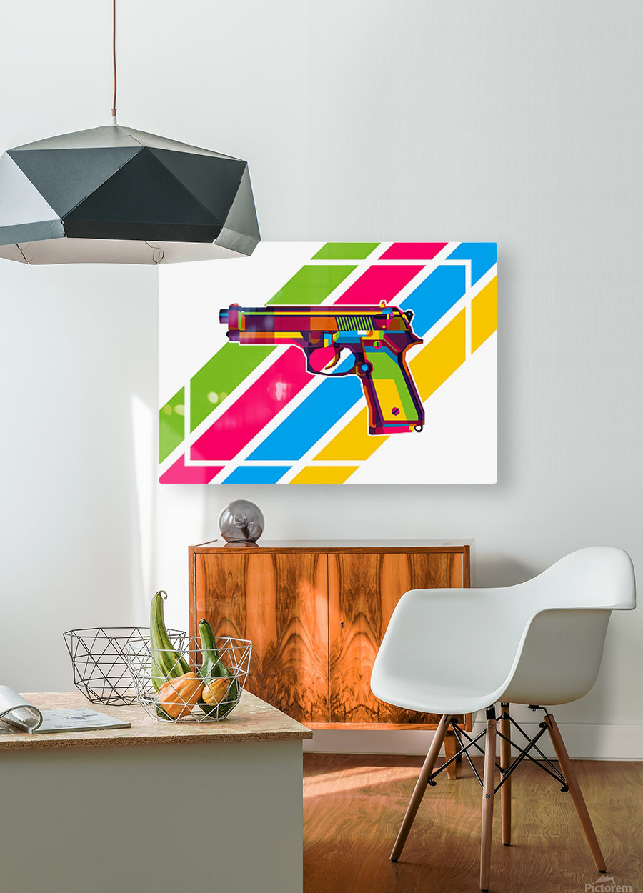 Classic Handgun  HD Metal print with Floating Frame on Back