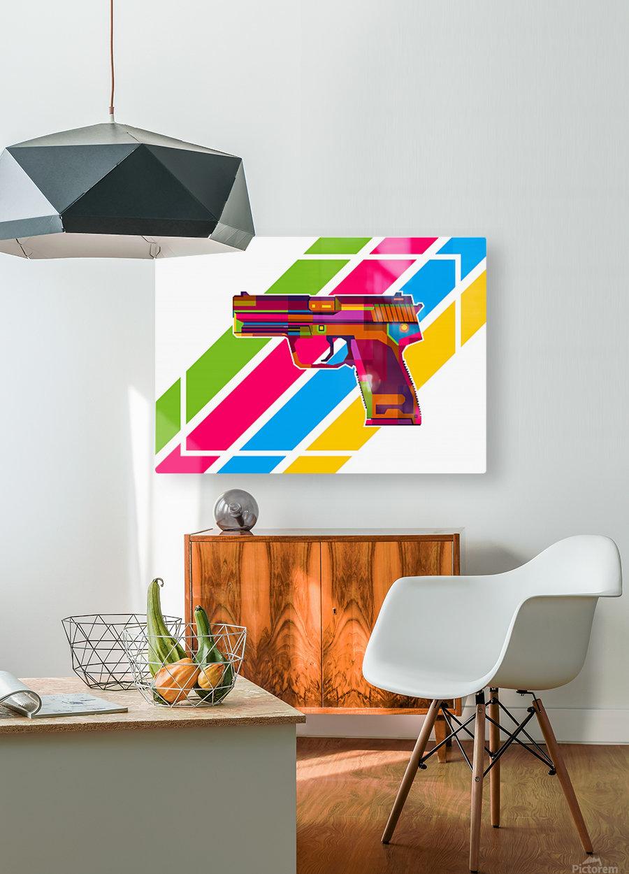 Heckler and Koch USP Handgun  HD Metal print with Floating Frame on Back