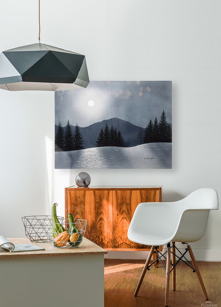 Mountain Moon  HD Metal print with Floating Frame on Back