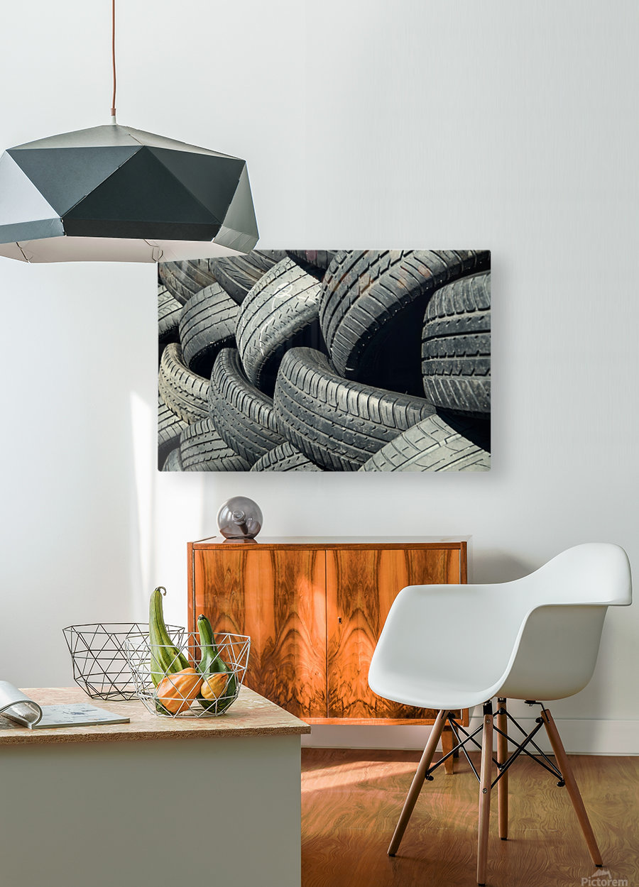 Tires stacked for recycling  HD Metal print with Floating Frame on Back