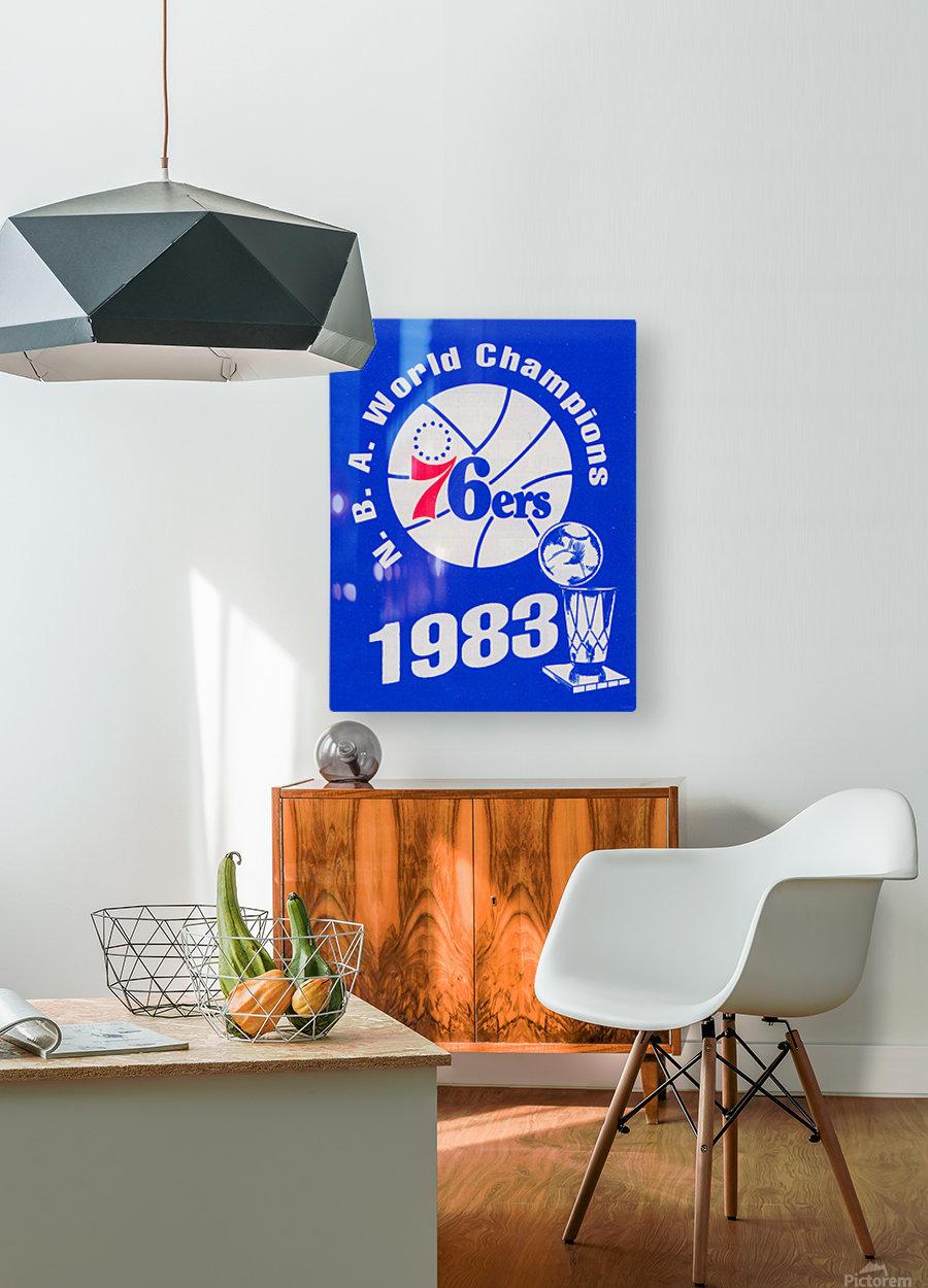 1983 NBA World Champions Philadelphia 76ers Art Reproduction 1  HD Metal print with Floating Frame on Back